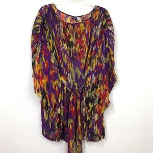 Marc Bouwer Multi-Colored Sheer Tie Waist Tunic